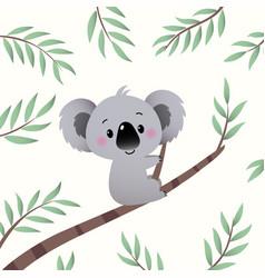 cartoon koala climbing in tree branch vector image