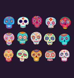 cartoon mexican calavera sugar skulls set vector image