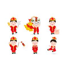 Chinese boy people cute characters cartoon mascot vector