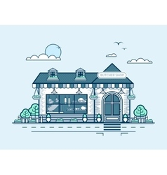 City street with butcher shop in line style vector
