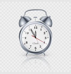 classic clock with bells in metallic vintage vector image
