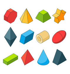 colorful isometric pictures geometry shapes vector image