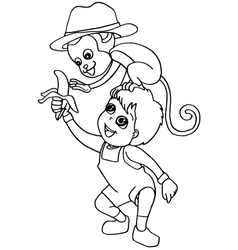Coloring book child feeding monkey vector