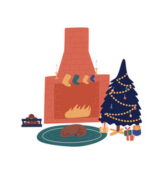 Cozy home with decorated christmas tree vector