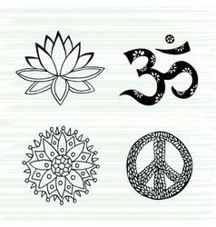 Culture symbols set lotus mandala mantra om and vector