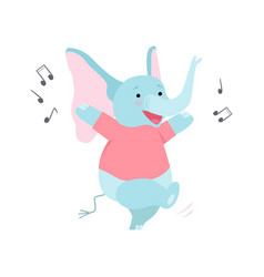 Cute elephant listening music and dancing funny vector