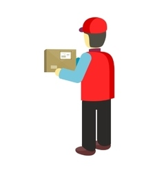 Delivery Man Worker Holds Package in his Hands vector
