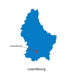 Detailed map of Luxembourg and capital city vector