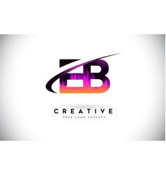 Eb e b grunge letter logo with purple vibrant vector