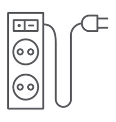electric extension thin line icon energy and plug vector image