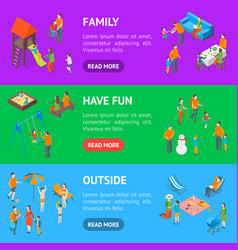 families spending free time 3d banner horizontal vector image
