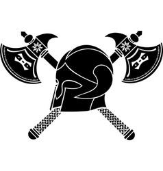 Fantasy helmet with axes stencil vector