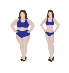 Fat and slim girl weight loss fitness vector