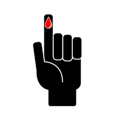 Finger with blood drop on white background vector