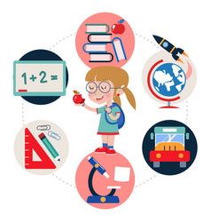flat education round template vector image