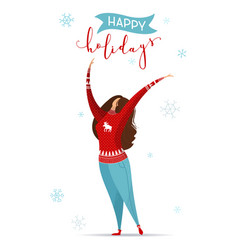 flat of woman in jeans and red christmas sweater vector image