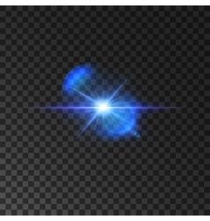 Flickering blue light flash shining star vector