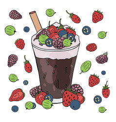 fruit and coffee cocktail with different berries vector image