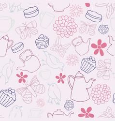 Garden tea party seamless pattern design vector