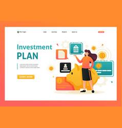 Girl demonstrates her investment plan for web vector
