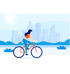 girl riding a bicycle in city vector image
