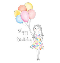 Girl with balloons happy birthday holiday vector