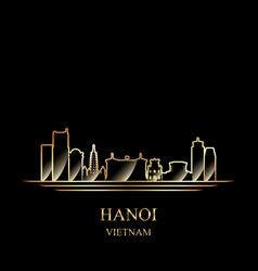 gold silhouette of hanoi on black background vector image