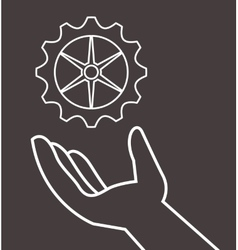 hand and gear icons image vector image