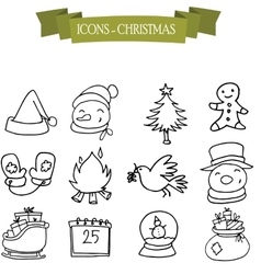 Hand draw of Christmas and holiday icons vector