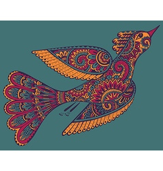 Hand drawn ornamental fancy bird vector
