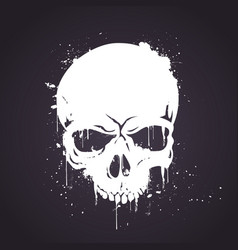 hand drawn white skull with splash effects vector image
