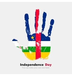 Handprint with the flag of central african vector