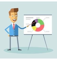 Handsome manager gives presentation shows diagram vector