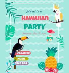 Hawaiian bright invitation with toucan vector