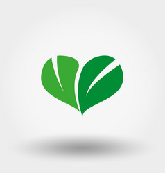 Heart of green leaves icon flat vector