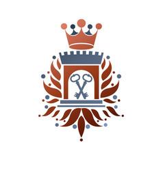 Heraldic coat of arms vintage retro fortress vector