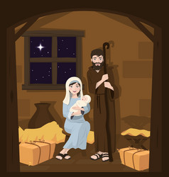 holy family christmas nativity scene birth of vector image