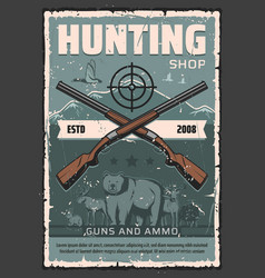 Hunter gun and ammo shop hunting club vector