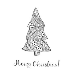 Isolated christmas tree with pattern and lettering vector