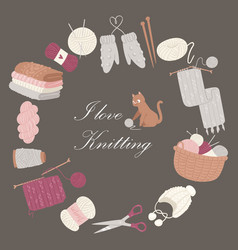 knitting i love poster collection of vector image