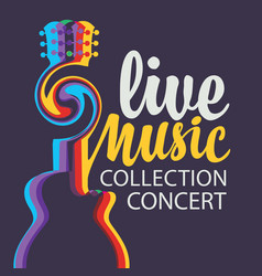 live music poster with acoustic guitar and vector image