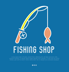 Logo for fishing shop with fishing rod vector