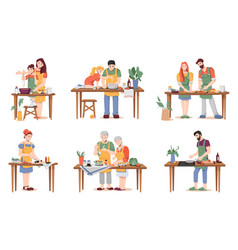 man and woman kids elderly couples cook dinner vector image