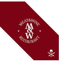 Meat and wine logo restaurant menu on red vector