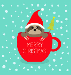 Merry christmas fir tree sloth sitting in red vector