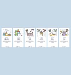 Mobile app onboarding screens new born baby room vector