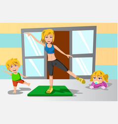 Mother and her kids exercise vector