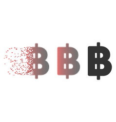 Moving pixel halftone thai baht icon vector