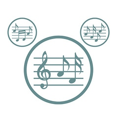 Music sheets with g key and notes icons set vector