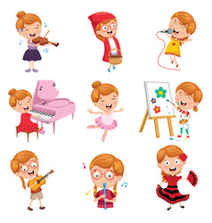 of little girl performing art vector image